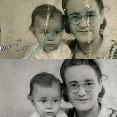 restoration and repair of old faded or damaged photos